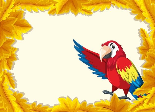 Szablon transparentu z żółtymi liśćmi z postacią z kreskówki papugi