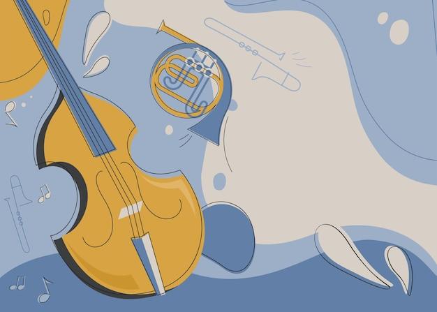 Szablon transparentu ze skrzypcami i waltornią. projekt ulotki na koncert muzyki klasycznej.
