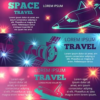Szablon transparenty poziome podróży kosmicznych
