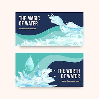 Szablon twister z koncepcją światowego dnia wody dla mediów społecznościowych i ilustracji akwareli społeczności