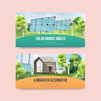 Szablon twitter zielonej energii w stylu przypominającym akwarele w stylu przypominającym akwarele