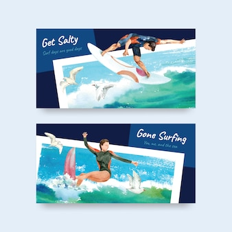Szablon twittera z deskami surfingowymi na plaży