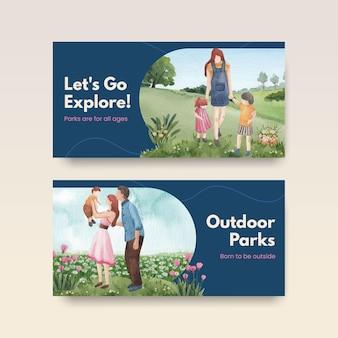 Szablon twittera z koncepcją parku i rodziny dla ilustracji akwarela w mediach społecznościowych