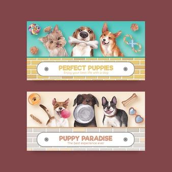 Szablon twittera z koncepcją słodkiego psa, styl przypominający akwarele