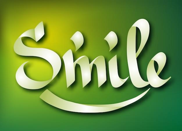 Szablon typograficzny słowo z kaligraficznym odręcznym lekkim napisem uśmiech na zielonej ilustracji