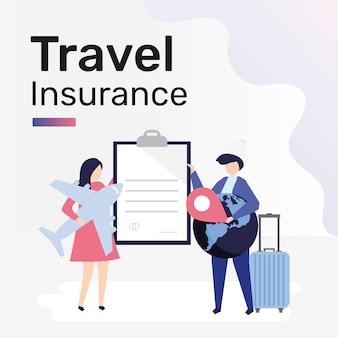 Szablon ubezpieczenia podróżnego dla postu w mediach społecznościowych
