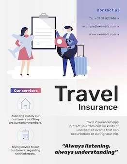 Szablon ubezpieczenia podróżnego dla ulotki