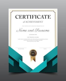 Szablon układu certyfikatu. luksusowy i nowoczesny styl