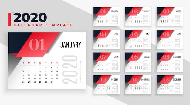 Szablon układu kalendarza nowoczesny 2020