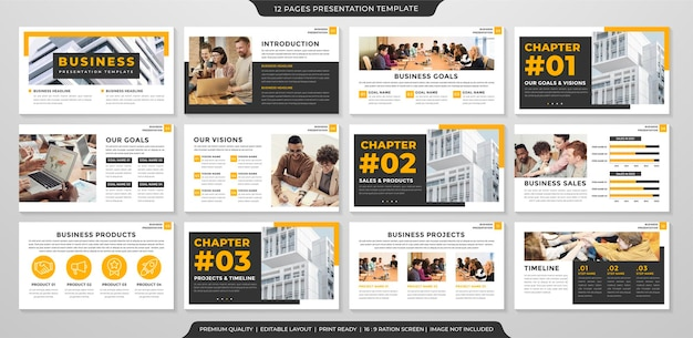 Szablon układu prezentacji biznesowej w minimalistycznym stylu