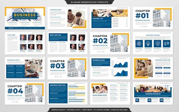 Szablon układu prezentacji biznesowej w stylu premium