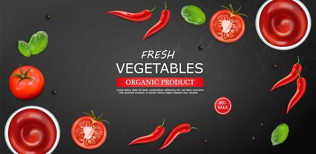 Szablon układu składników gorącego sosu chili i pomidorów