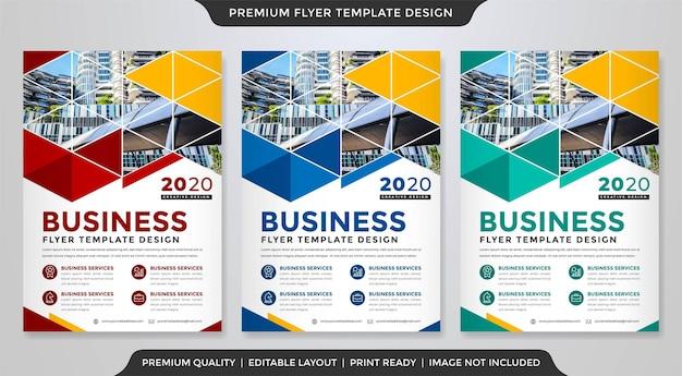 Szablon układu ulotki biznesowej a4 z nowoczesnym i premium wektorem