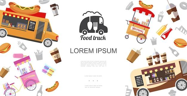 Szablon ulicznych ciężarówek i wózków spożywczych