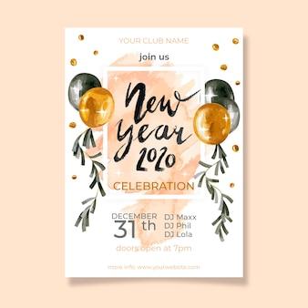 Szablon ulotki akwarela nowy rok party