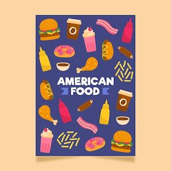 Szablon ulotki amerykańskiej żywności