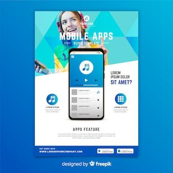 Szablon ulotki aplikacji mobilnych ze zdjęciem