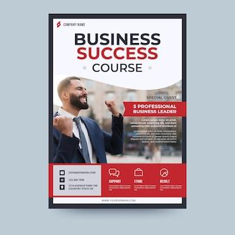 Szablon ulotki biznesowej kursu sukcesu biznesowego