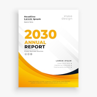 Szablon ulotki biznesowej profesjonalny żółty raport roczny