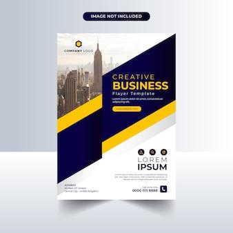 Szablon ulotki biznesowej z niebieskim i żółtym wzorem
