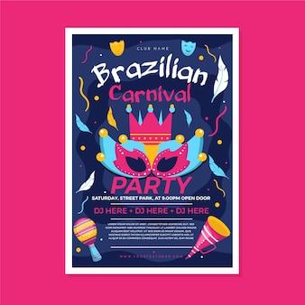 Szablon ulotki brazylijskiego karnawału
