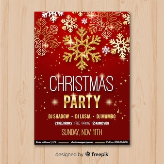 Szablon ulotki Christmas party w kolorze czerwonym i złotym