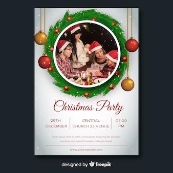 Szablon ulotki christmas party z globusy