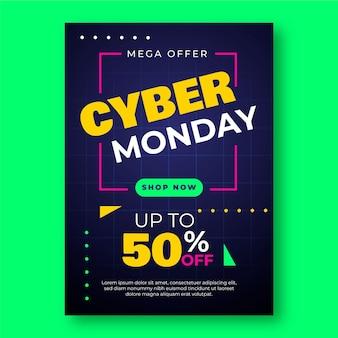 Szablon ulotki cyber poniedziałek w płaskiej konstrukcji