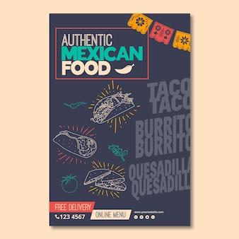 Szablon ulotki dla meksykańskiej restauracji żywności