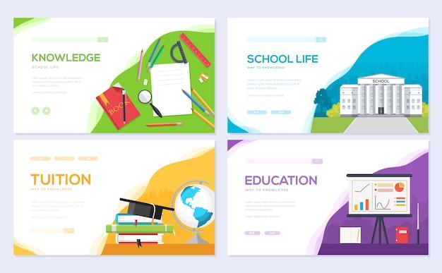 Szablon ulotki dla studentów, baner internetowy, nagłówek interfejsu użytkownika, wejście do witryny. invintation nowoczesny