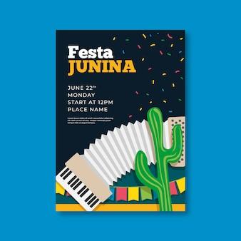 Szablon ulotki festa junina w płaskiej konstrukcji
