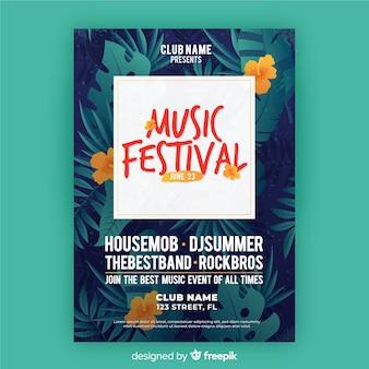 Szablon ulotki festiwal muzyczny