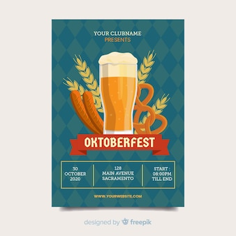 Szablon ulotki festiwal piwa oktoberfest