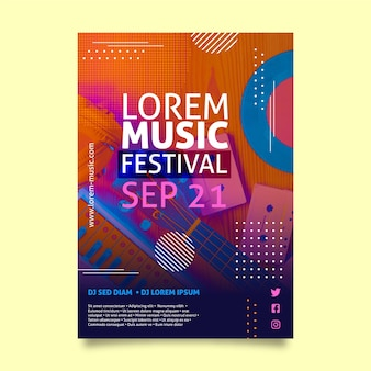Szablon ulotki festiwalu muzyki a5