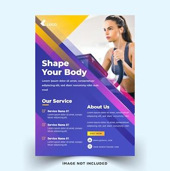Szablon ulotki fitness siłownia o nowoczesnych kształtach premium wektorów