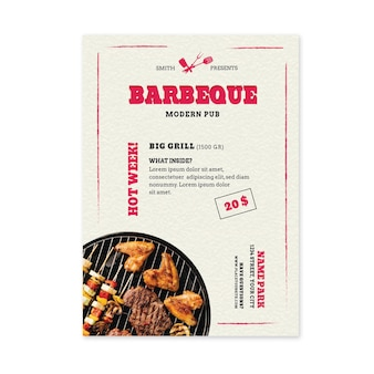 Szablon ulotki grill świeżej żywności z grilla