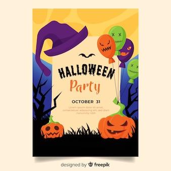 Szablon ulotki halloween party w płaskiej konstrukcji