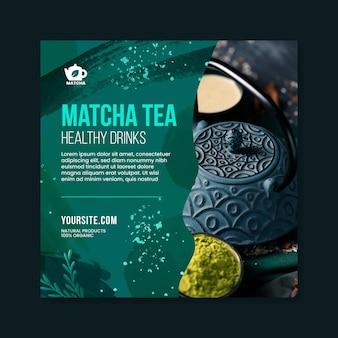 Szablon ulotki herbaty matcha w kwadraty ze zdjęciem
