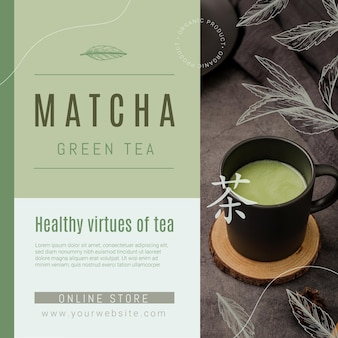 Szablon ulotki herbaty matcha w kwadraty