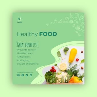 Szablon ulotki kwadratowe zdrowej żywności