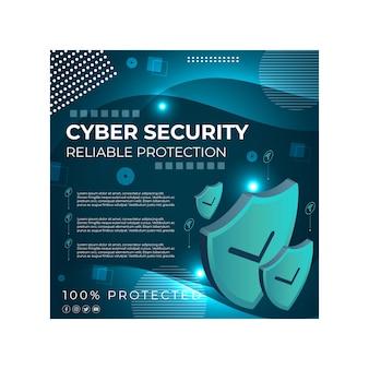Szablon Ulotki Kwadratowej Bezpieczeństwa Cybernetycznego Darmowych Wektorów