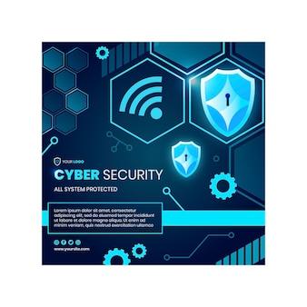 Szablon ulotki kwadratowej bezpieczeństwa cybernetycznego