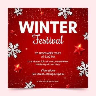 Szablon ulotki kwadratowej festiwalu zimowego