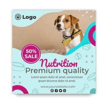 Szablon ulotki kwadratowej karmy dla psów