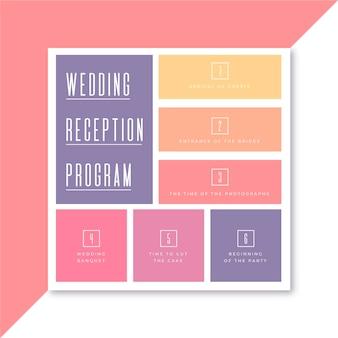 Szablon ulotki kwadratowej programu przyjęcia weselnego