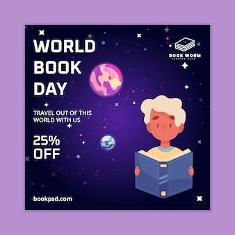 Szablon ulotki kwadratowej światowego dnia książki