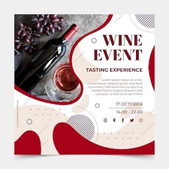 Szablon ulotki kwadratowej wina