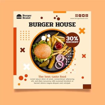Szablon ulotki kwadratowej z burgerami
