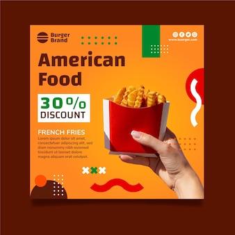Szablon ulotki kwadratowej żywności amerykańskiej z frytkami