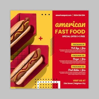 Szablon ulotki kwadratowej żywności amerykańskiej